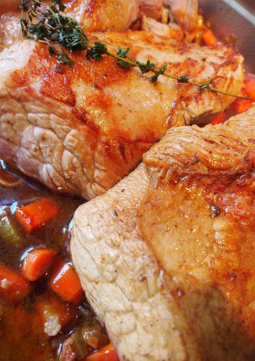 Menü: Hauptspeise Braten Gemüse frisch